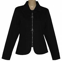 Crystal Zipper Denim Jacket