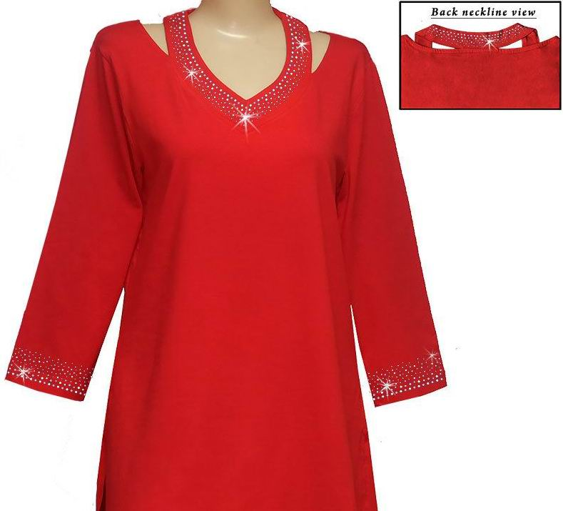 Cut Out Neckline Red Tunic