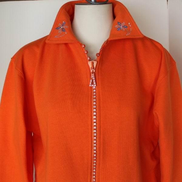 Orange Crystal Zipper Cardigan