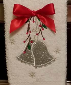 Silver & Red Bells Christmas Towel