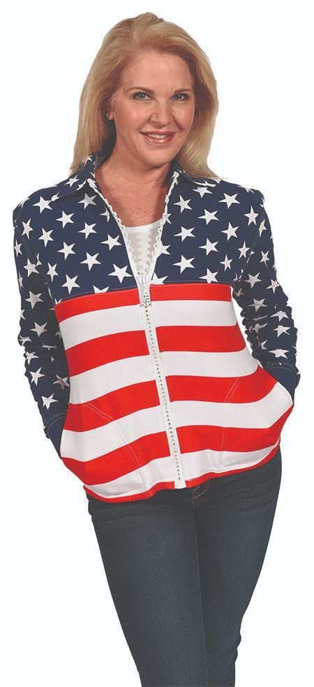 USA Crystal Zipper Cardigan with Collar